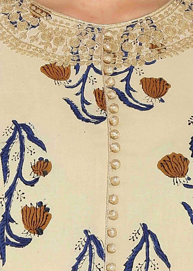 Cream Cotton Kurti With All Over Print Full Sleeves And Thread Embroidery On Neck Only On Kalki