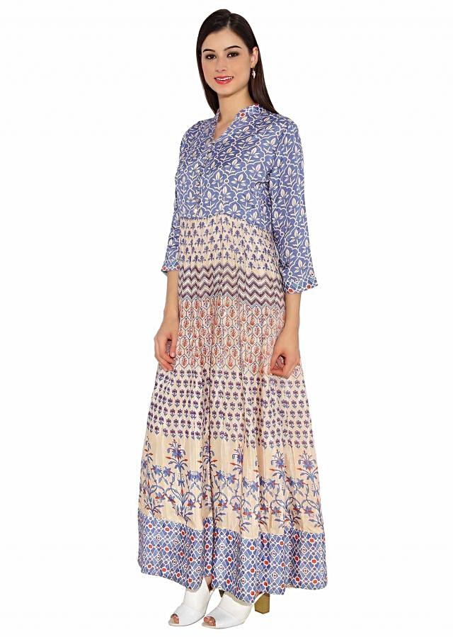 Cream Cotton Kurti With Floral And Abstract Mixed Printed Only On Kalki