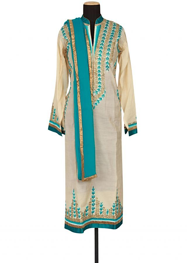 Cream cotton semi-stitched salwar-kameez embellished in resham and gotta patti only on Kalki