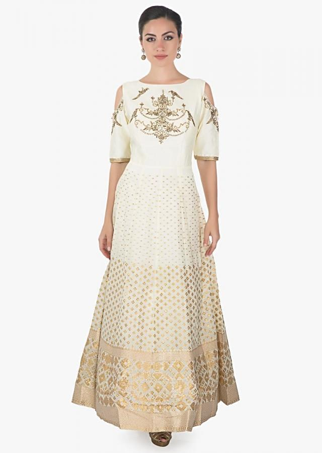Cream cotton silk dress emblished with zardosi and sequin only on kalki