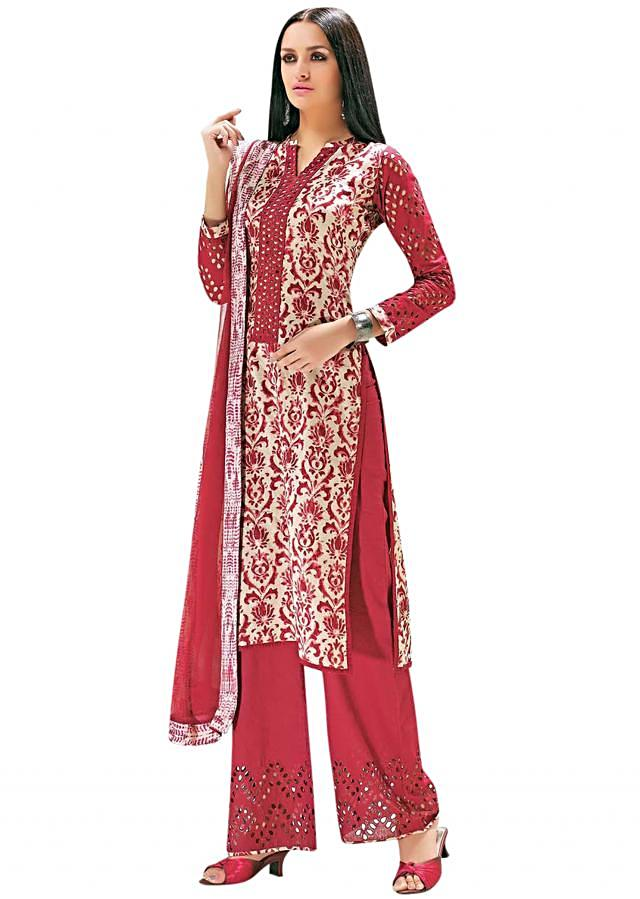 Cream cotton unstitched suit embellished in maroon print