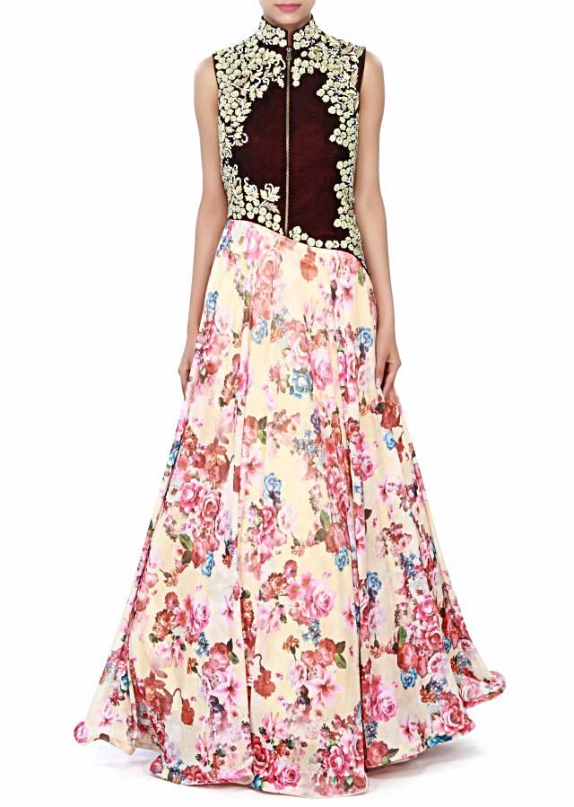 Cream dress enhanced in floral print and zari embroidery only on Kalki