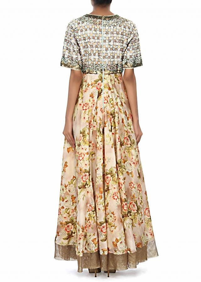 Cream dress featuring in floral print and thread embroidery only on Kalki