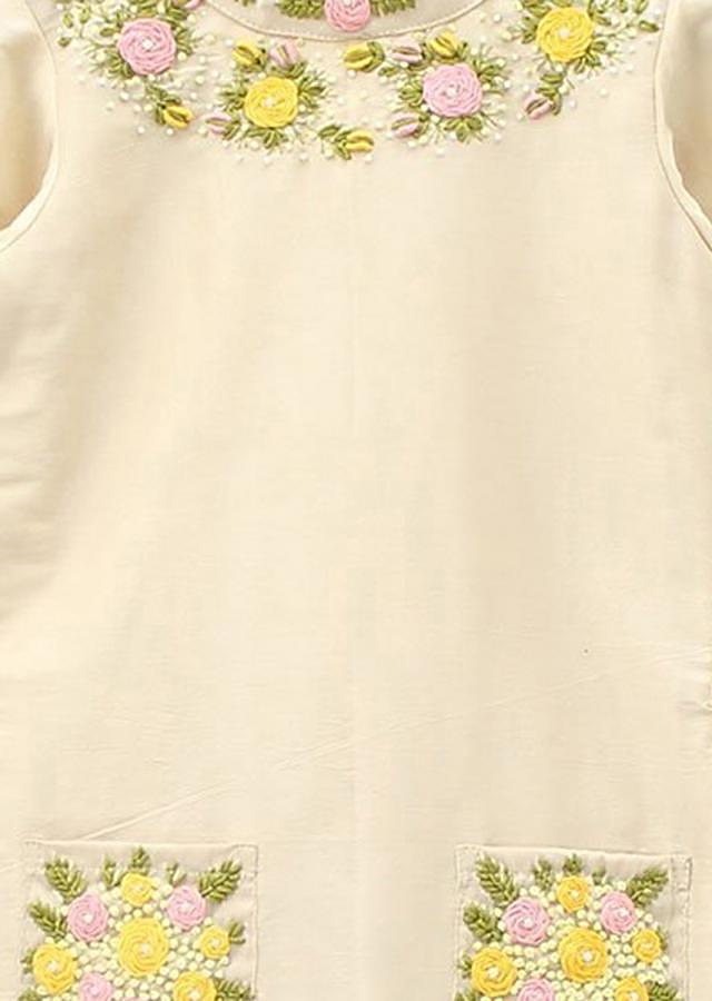 Cream Dress In Butter Silk With Floral Motif Embroidery Online - Kalki Fashion