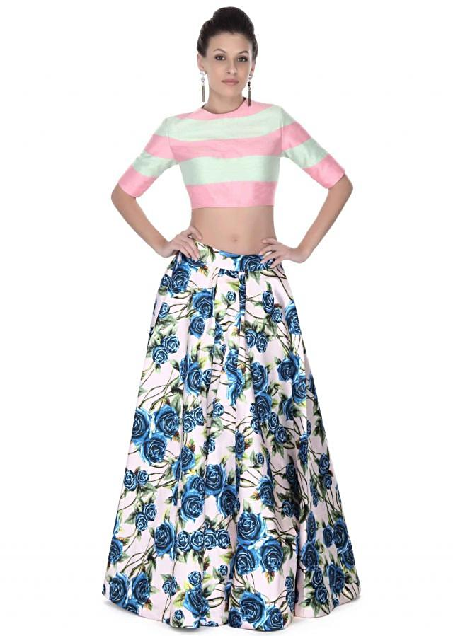Cream floral print skirt with pink and mint crop top only on Kalki