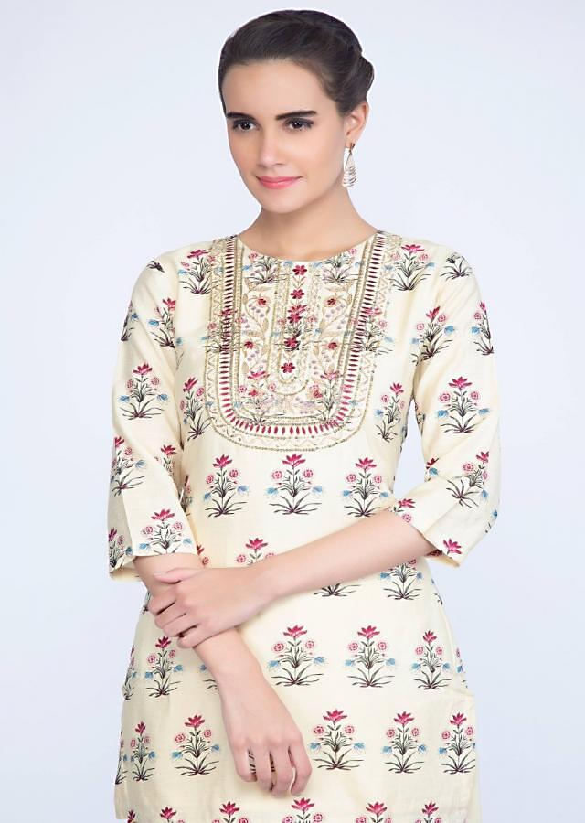 Cream Top With Floral Print And Matching Dhoti Pant Online - Kalki Fashion