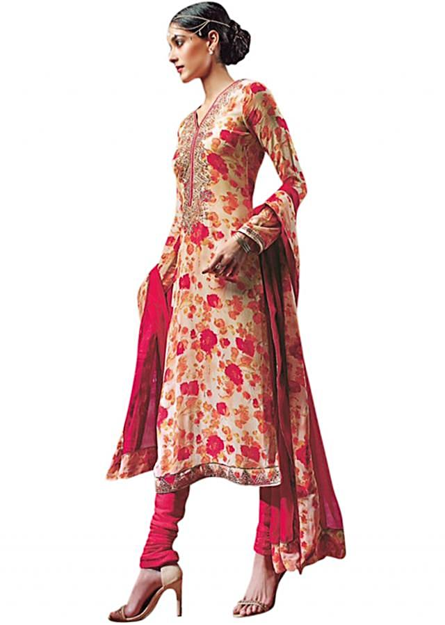 Cream floral printed unstitched suit