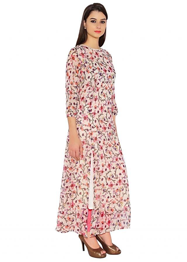 Cream Georgette Kurti With All Over Flower Prints And Side Slit Only On Kalki