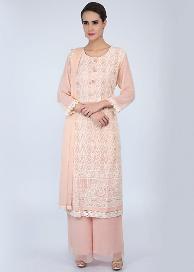 Cream georgette palazzo suit set in chicken embroidery only on Kalki