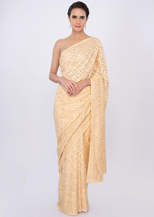 Cream georgette saree in lucknowi embroidery only on kalki
