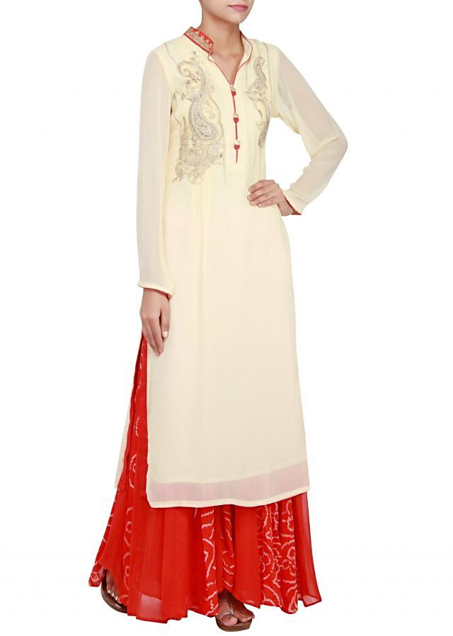 Cream georgette straight cut suit embellished in zari and stone only on Kalki