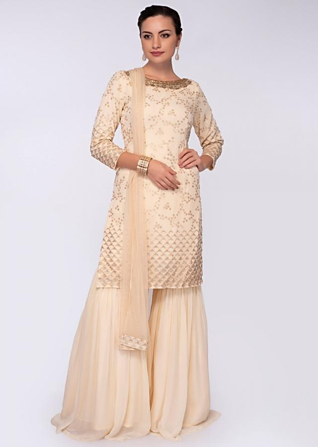 Cream Suit In Georgette With Zari Embroidery In Floral And Geometric Motif Online - Kalki Fashion