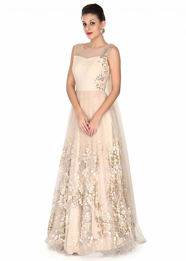 Cream gown in floral motif embroidery only on Kalki
