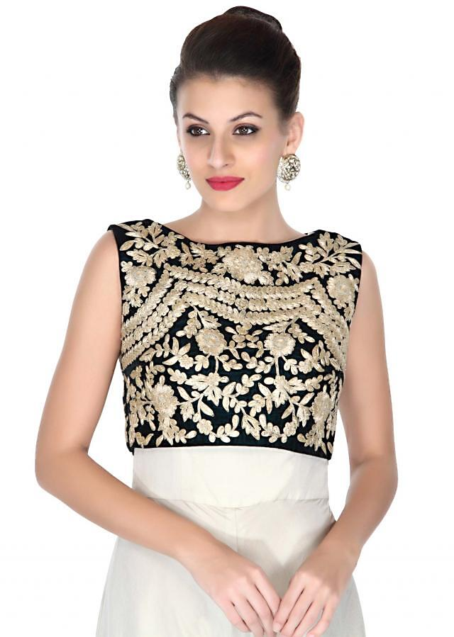 Cream jumpsuit with zari embroidered crop top only on Kalki
