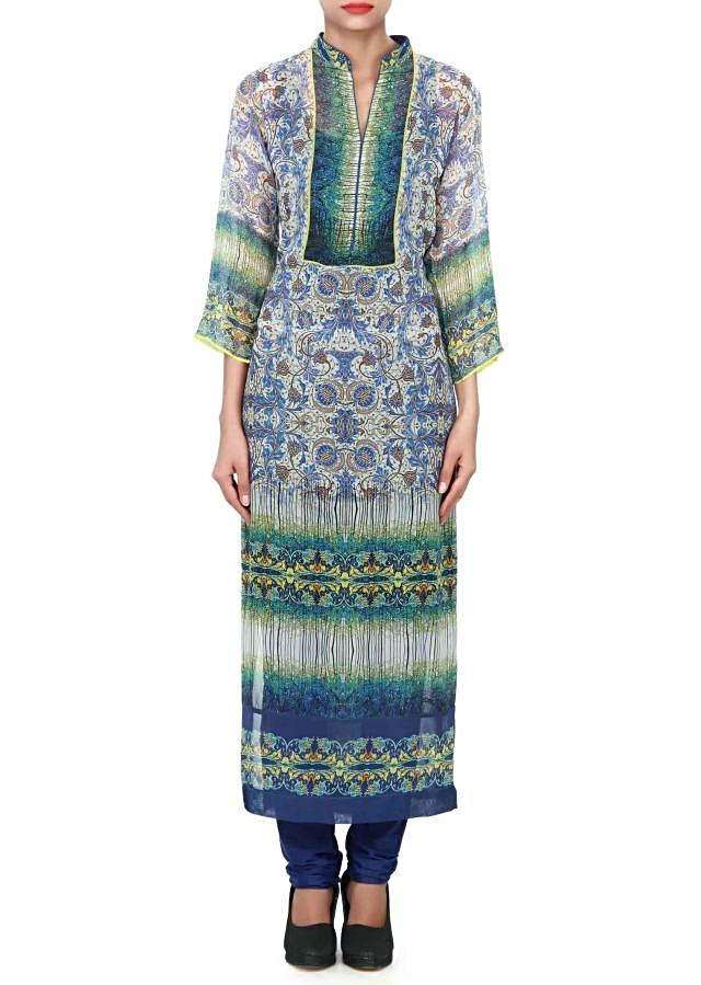 Cream kurti adorn in floral print all over only on Kalki