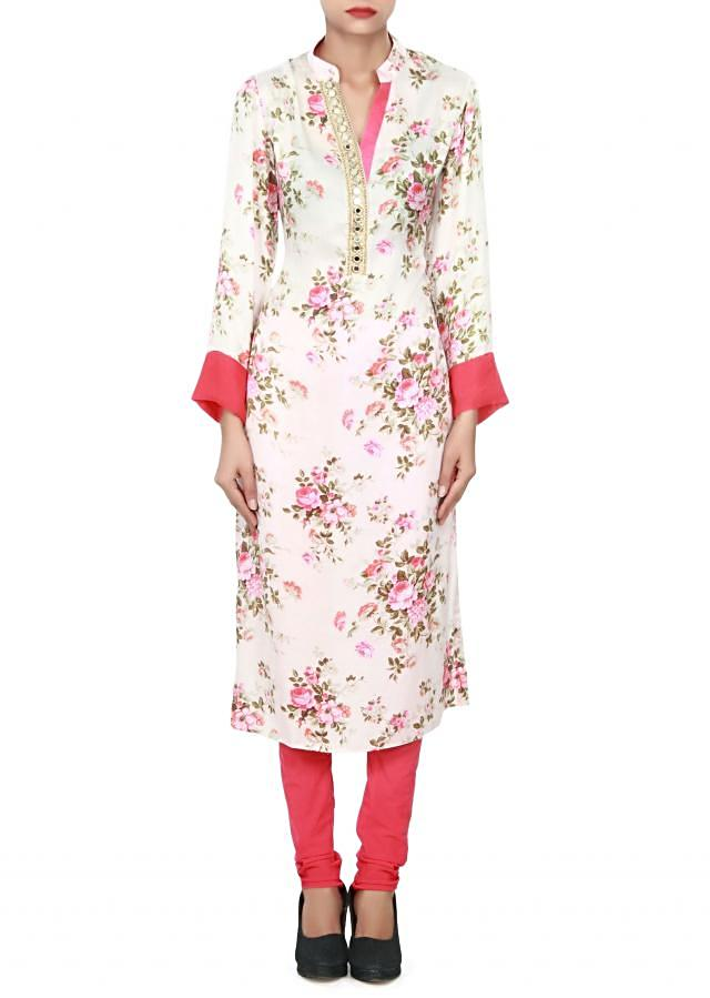 Cream kurti adorn in print and mirror embroidered placket only on Kalki