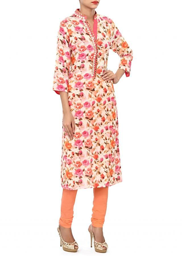Cream kurti embellished in mirror and thread work only on Kalki