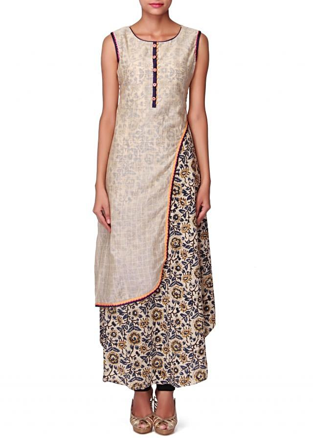 Cream kurti with fancy side slit and printed under layer only on Kalki