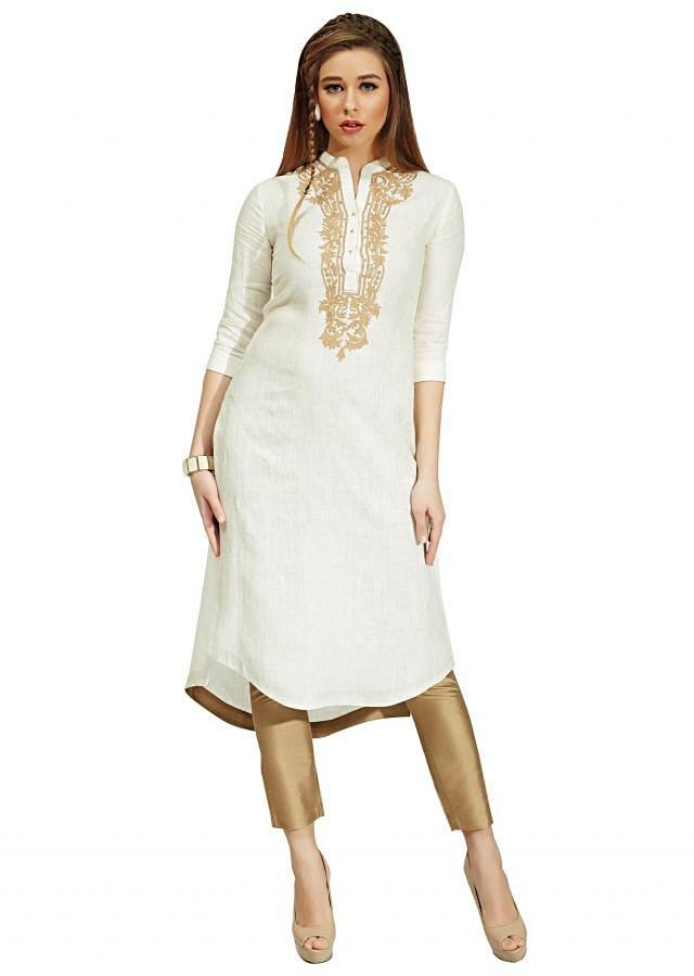 Cream kurti with gold embroidered placket