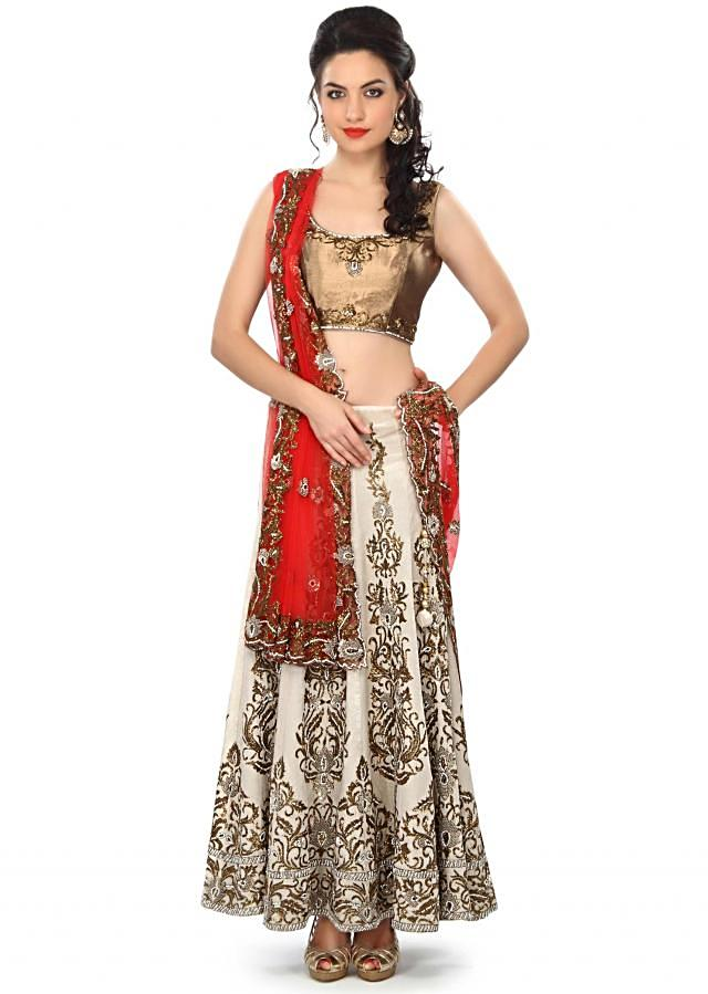 Cream lehenga embellished in French knot and kardana embroidery only on Kalki