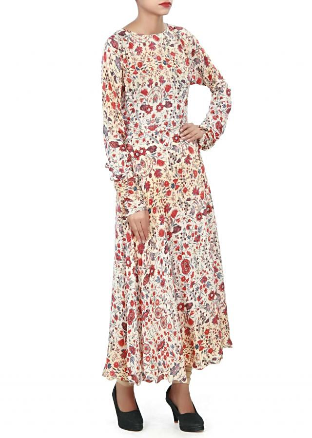 Cream long kurti enhanced in flora print only on Kalki