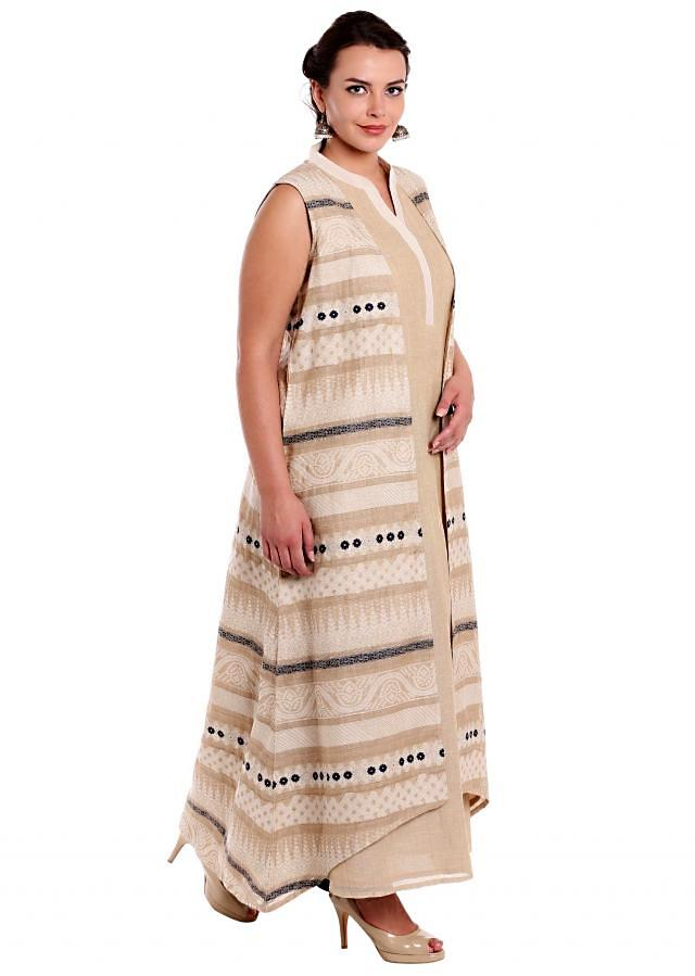 Cream long kurti with weaved jacquard jacket only on Kalki