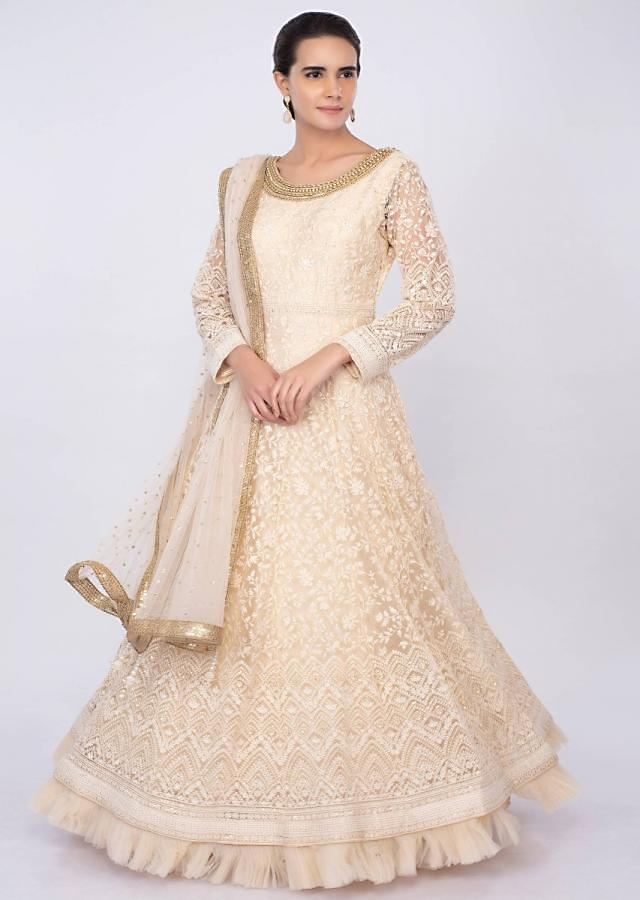 Cream Anarkali In Net With Thread Jaal Embroidery Online - Kalki Fashion