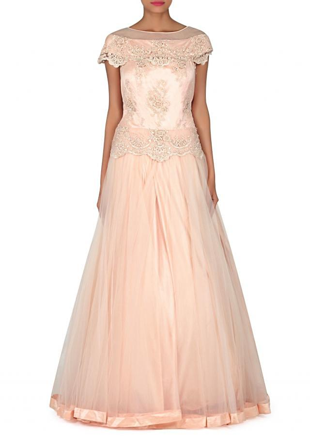 Cream peach gown with embroidered bodice only on Kalki