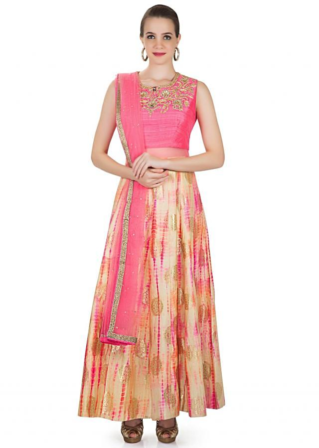 Cream Pink Silk and Net Gown with Zardosi and Cut Dana Work Only on Kalki