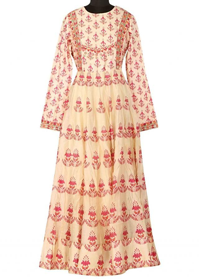 Cream printed kurti highlighted in resham only on Kali