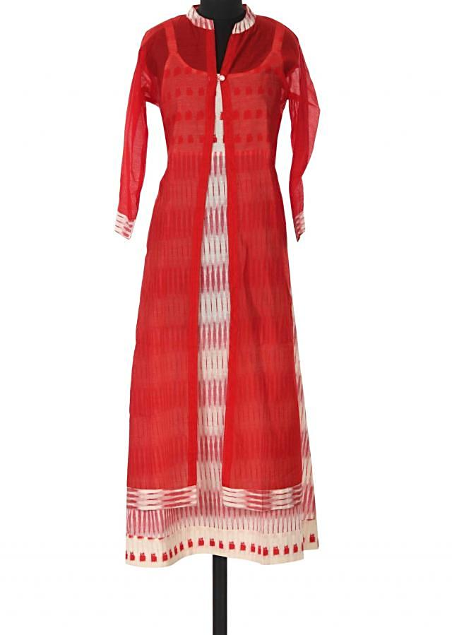 Cream printed kurti matched with red jacket only on Kalki