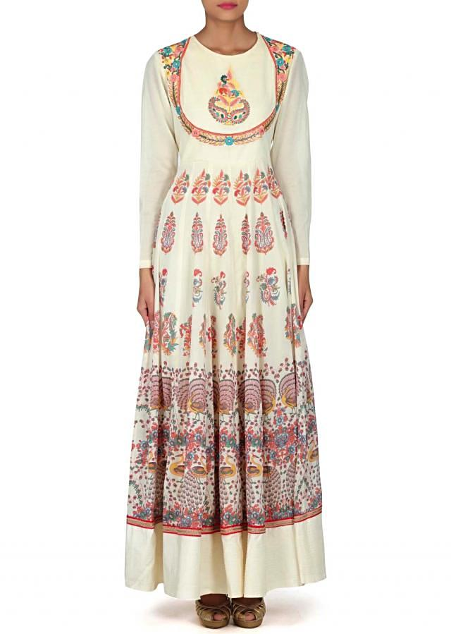 Cream printed suit adorn in resham embroidery only on Kalki
