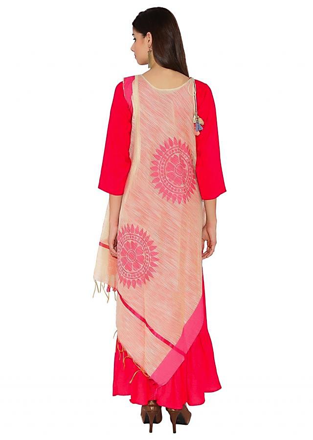 Cream & Rani Pink Cotton, Silk Kurti With Asymmetric Silhouette And Temple Motif Thread Tassels Bohemian Style Only On Kalki