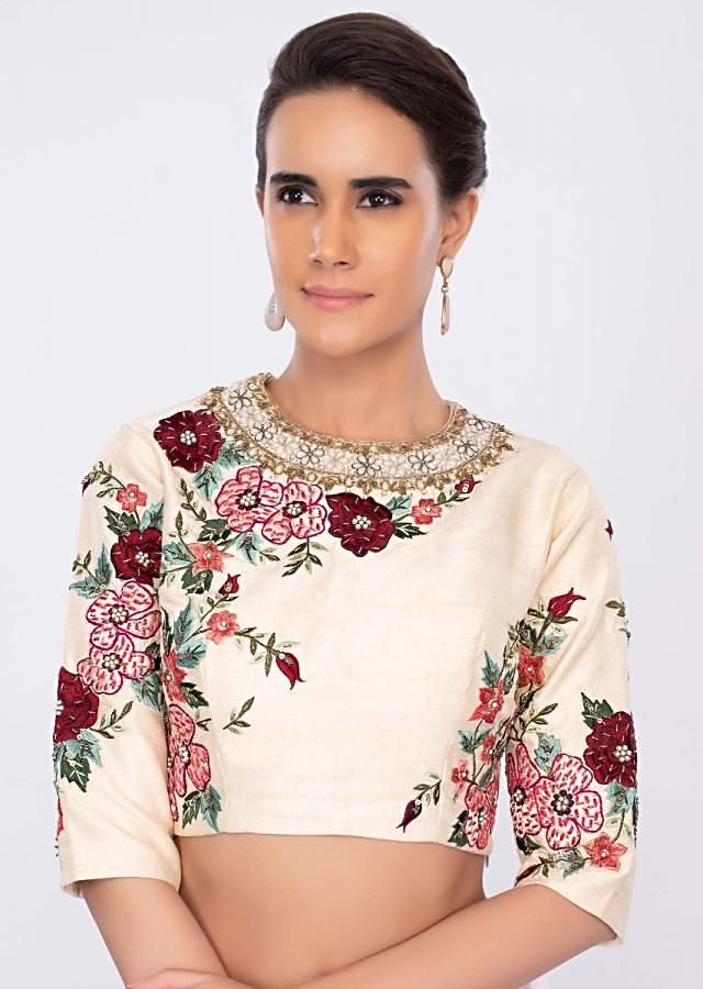 Cream raw silk blouse in multi color floral embroidery only on kalki