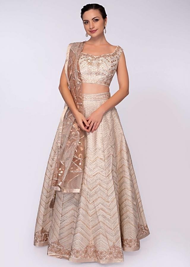 Cream Lehenga In Raw Silk Paired With A Matching Blouse In Applique Work Online - Kalki Fashion