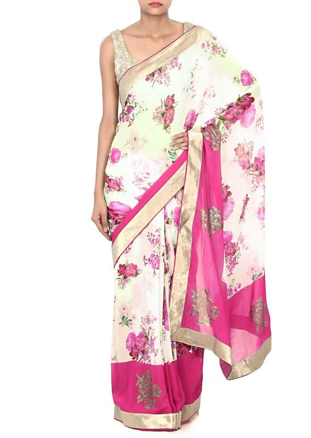Mellow cream saree adorn in floral print and kundan only on Kalki