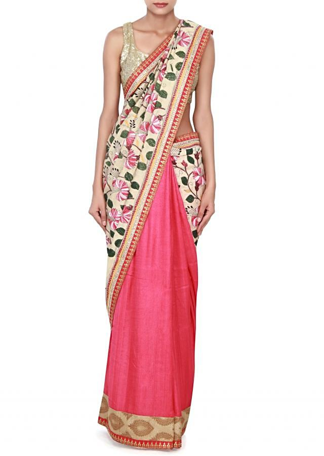 Cream saree adorn in thread and pearl embroidery only on Kalki