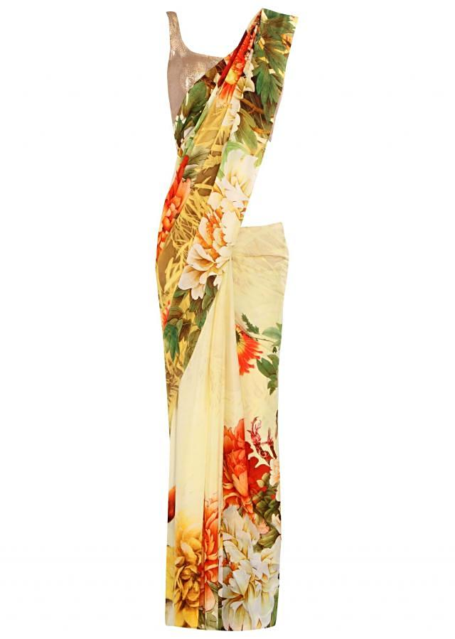 Stylish cream saree featuring in floral print all over only on Kalki
