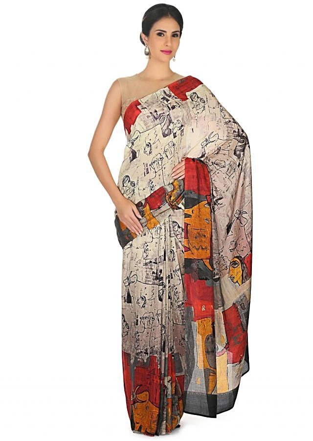 Cream saree in abstract human face print all over only on Kalki