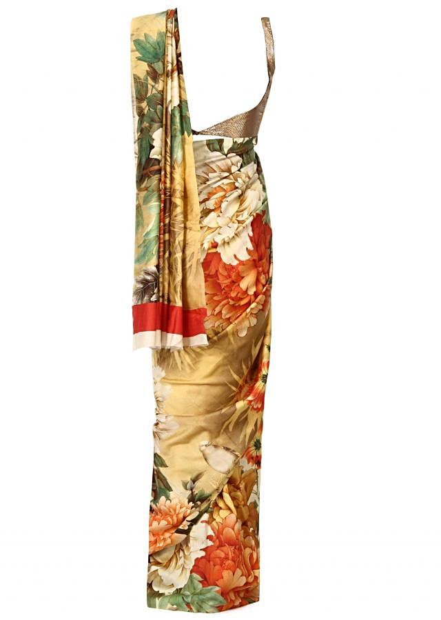 Cream saree in floral print only on Kalki