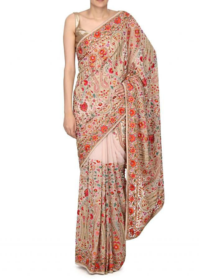 Cream saree in kashmiri thread work only on Kalki