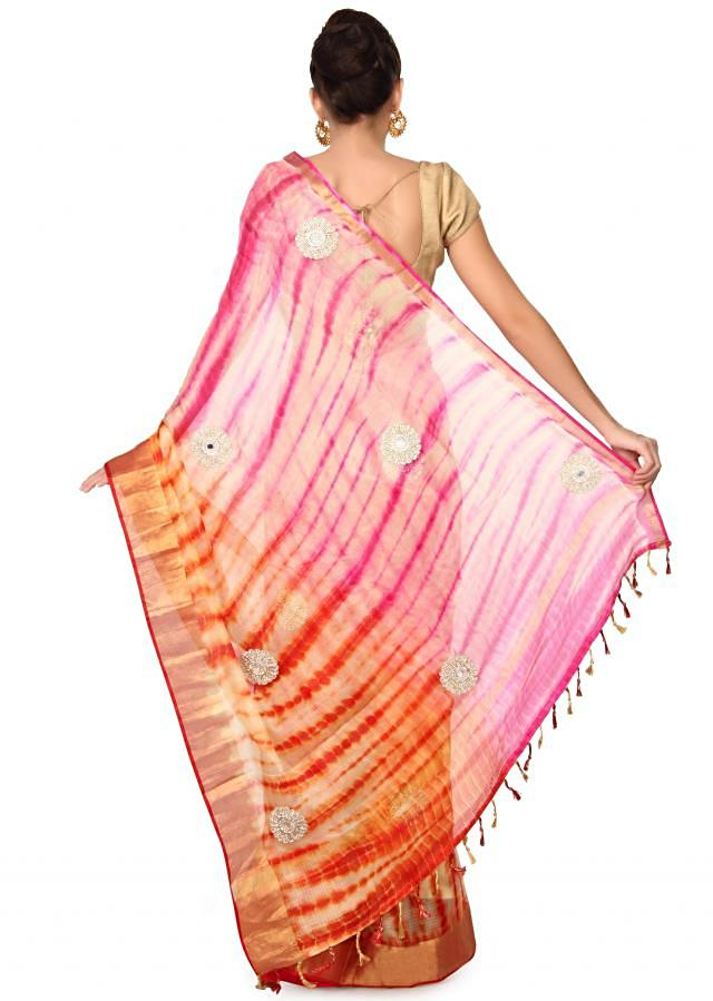 Cream saree in pink and orange with kundan butti only on Kalki