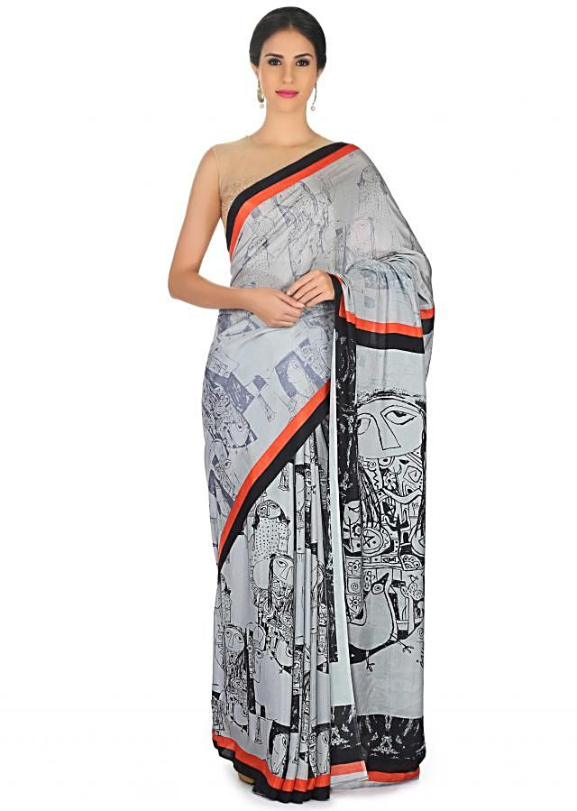 Cream saree with pallav and border print only on Kalki