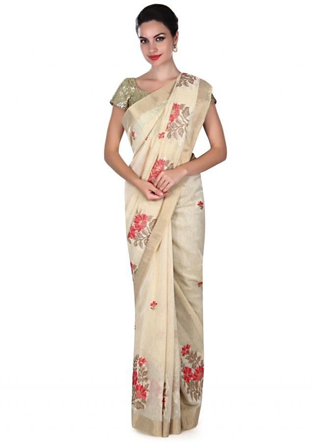 Snowy cream saree with resham embroidered butti only on Kalki