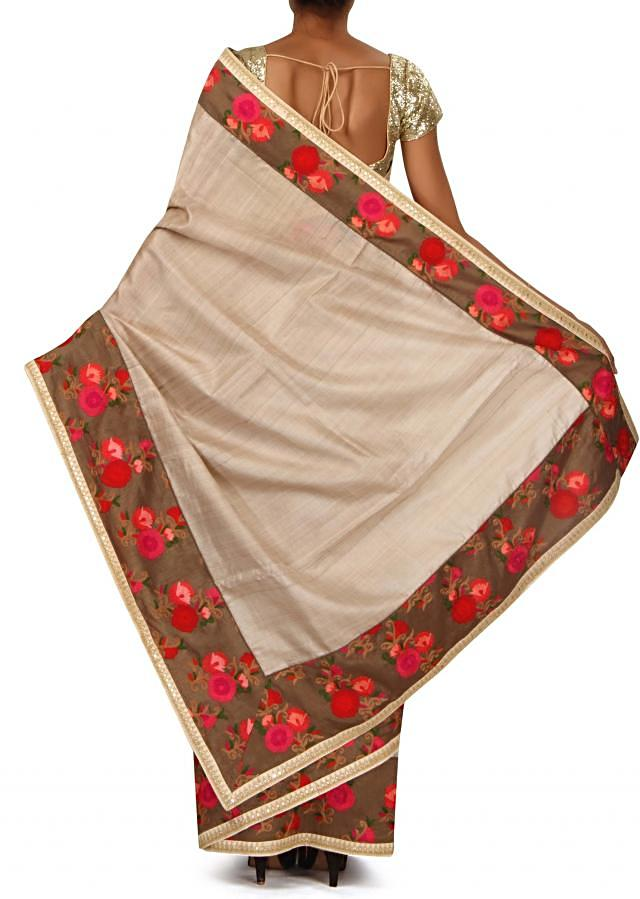 Buff cream saree with thread embroidered border only on Kalki