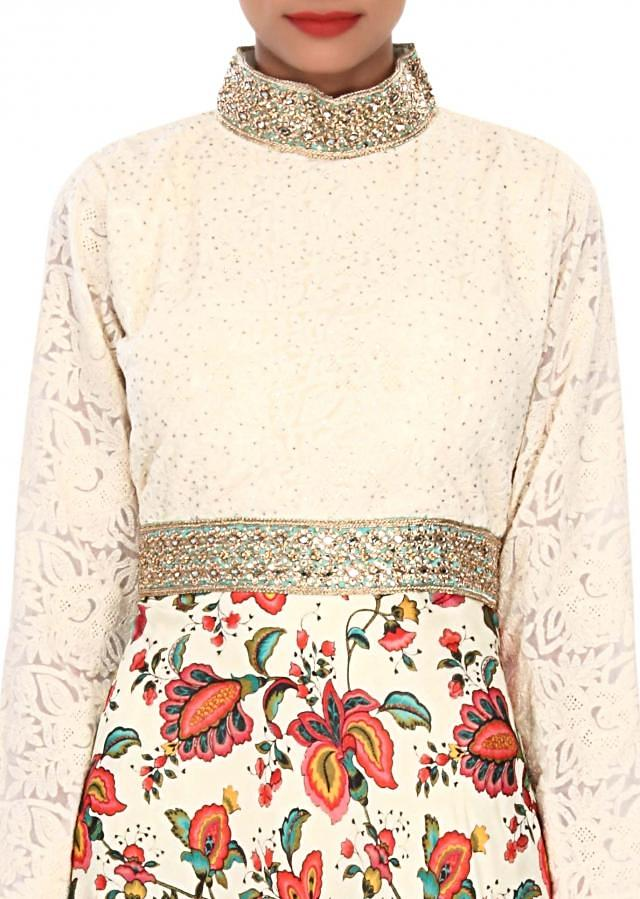 Cream satin embellished in floral print and kundan embroidery only on Kalki