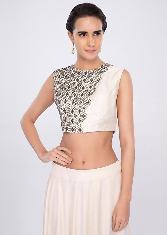 Cream Skirt In Shimmer Lycra With Matching Blouse And Prestitched Dupatta Online - Kalki Fashion