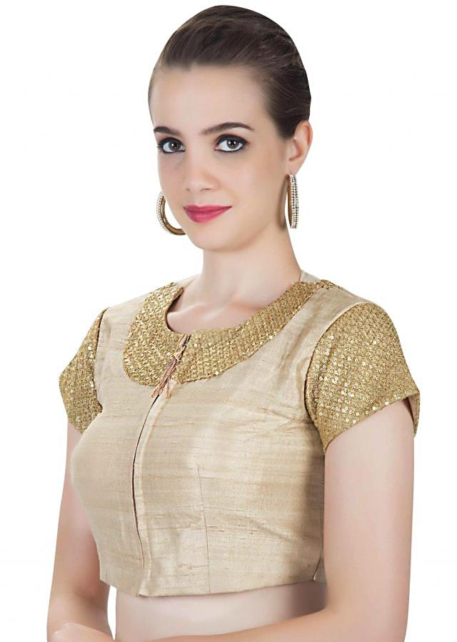 Cream Silk Saree Blouse with Sequins Only on Kalki