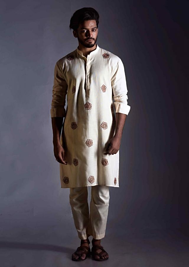 Cream Straight Cut Kurta In Linen With Straight Cut Trouser Online - Kalki Fashion