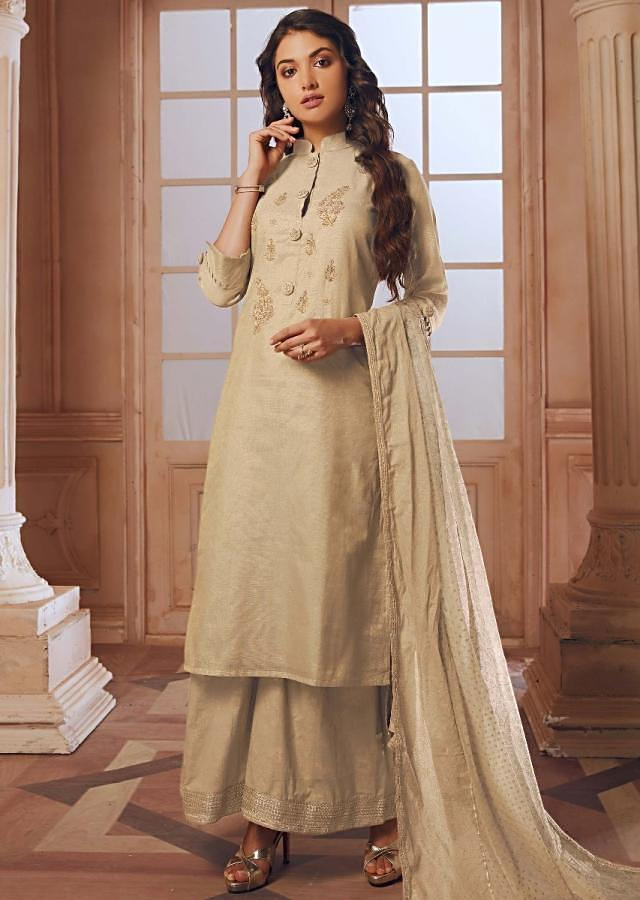 Cream Straight Palazzo Suit In Silk With Embroidered Butti And Fancy Buttons Online - Kalki Fashion